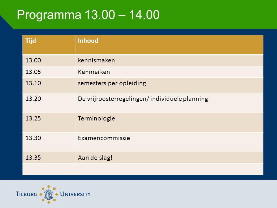 Programma 13.00 – 14.00 TijdInhoud 13.00kennismaken 13.05Kenmerken 13.10semesters per opleiding 13.20De vrijroosterregelingen/ individuele planning 13.25Terminologie 13.30Examencommissie 13.35Aan de slag!