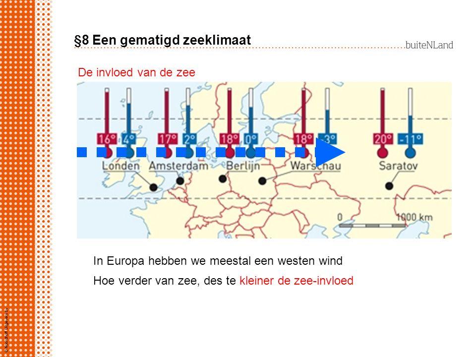 §8 Een gematigd zeeklimaat In Europa hebben we meestal een westen wind Hoe verder van zee, des te kleiner de zee-invloed De invloed van de zee