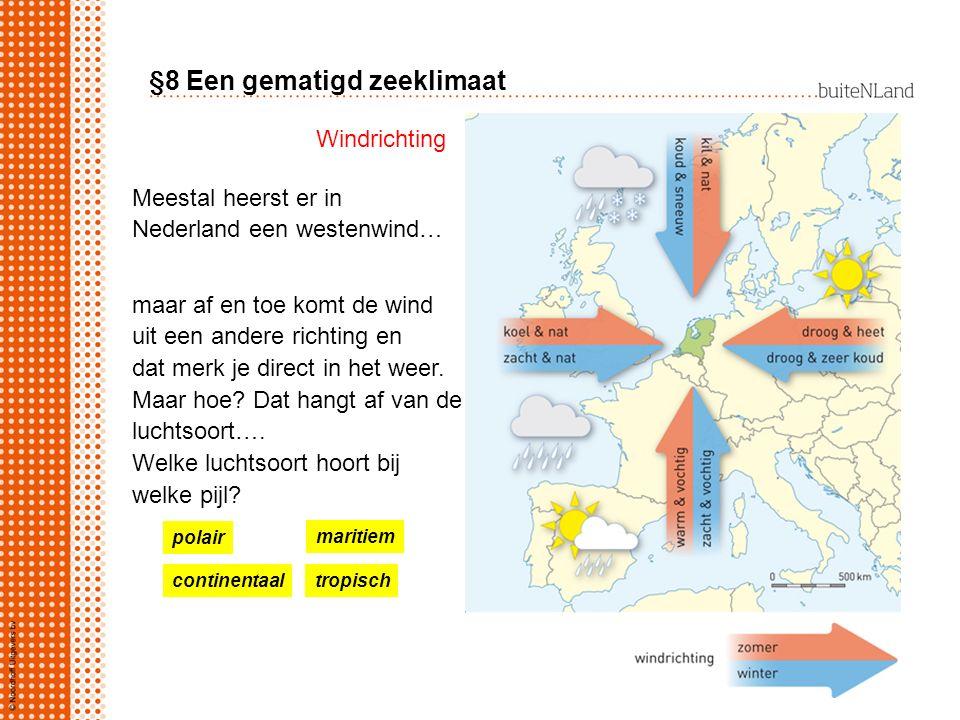 §8 Een gematigd zeeklimaat Meestal heerst er in Nederland een westenwind… maar af en toe komt de wind uit een andere richting en dat merk je direct in
