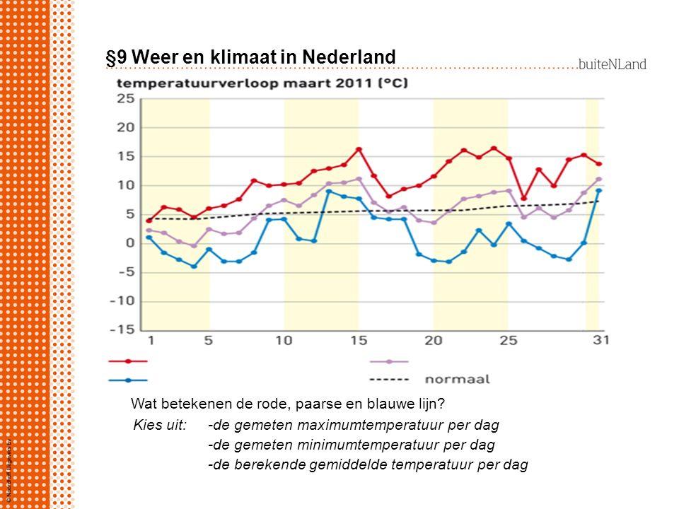 §9 Weer en klimaat in Nederland Wat betekenen de rode, paarse en blauwe lijn? Kies uit: -de gemeten maximumtemperatuur per dag -de gemeten minimumtemp