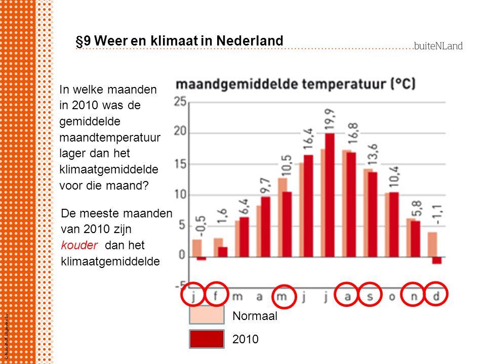 Normaal 2010 In welke maanden in 2010 was de gemiddelde maandtemperatuur lager dan het klimaatgemiddelde voor die maand? De meeste maanden van 2010 zi