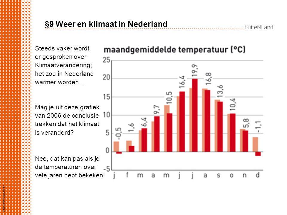 §9 Weer en klimaat in Nederland Steeds vaker wordt er gesproken over Klimaatverandering; het zou in Nederland warmer worden… Mag je uit deze grafiek v