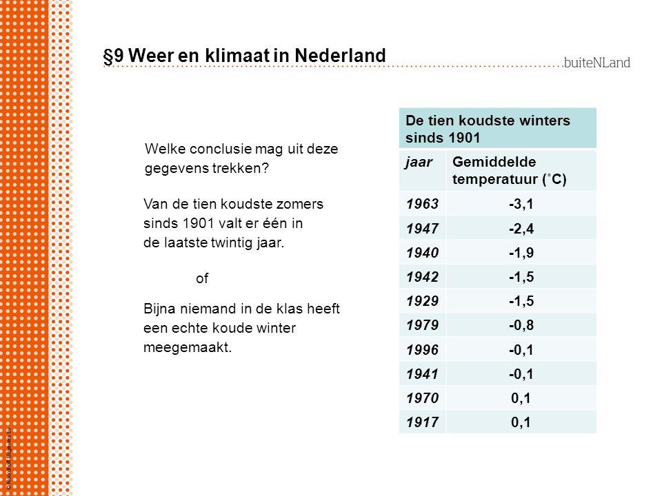 §9 Weer en klimaat in Nederland De tien koudste winters sinds 1901 jaarGemiddelde temperatuur (˚C) 1963-3,1 1947-2,4 1940-1,9 1942-1,5 1929-1,5 1979-0