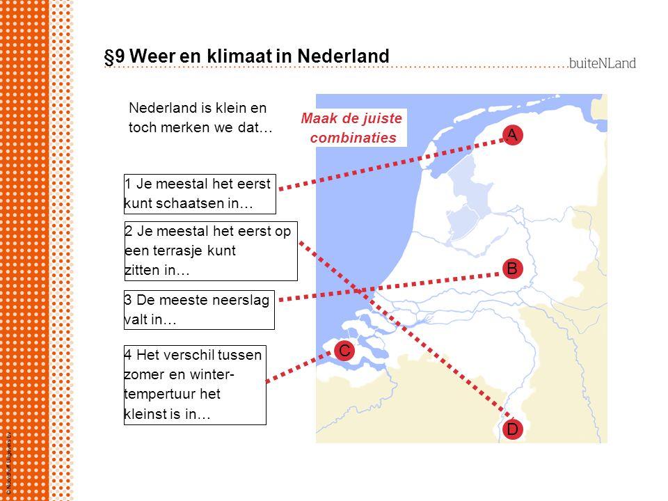 §9 Weer en klimaat in Nederland Nederland is klein en toch merken we dat… 1 Je meestal het eerst kunt schaatsen in… 2 Je meestal het eerst op een terr