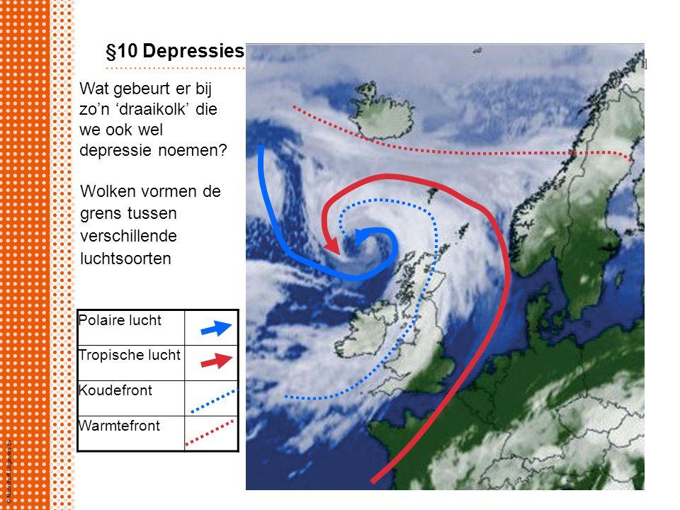 Polaire lucht Tropische lucht Koudefront Warmtefront Wat gebeurt er bij zo'n 'draaikolk' die we ook wel depressie noemen? §10 Depressies Wolken vormen