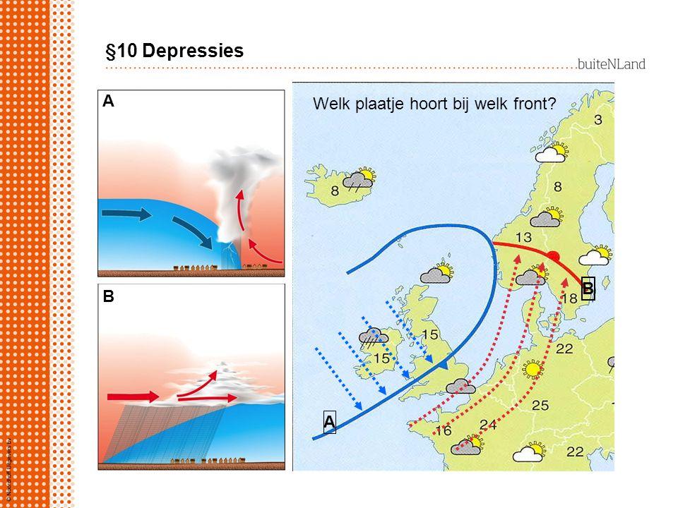 Welk plaatje hoort bij welk front? A B A B §10 Depressies