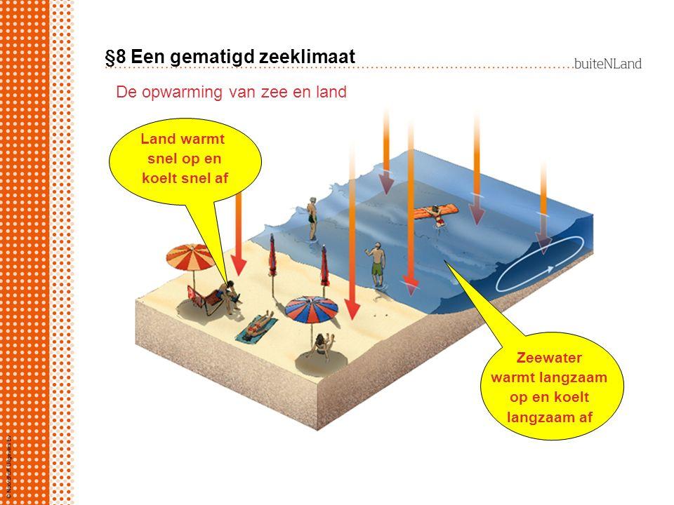 §8 Een gematigd zeeklimaat De opwarming van zee en land De lucht wordt onderaf / bovenaf opgewarmd.