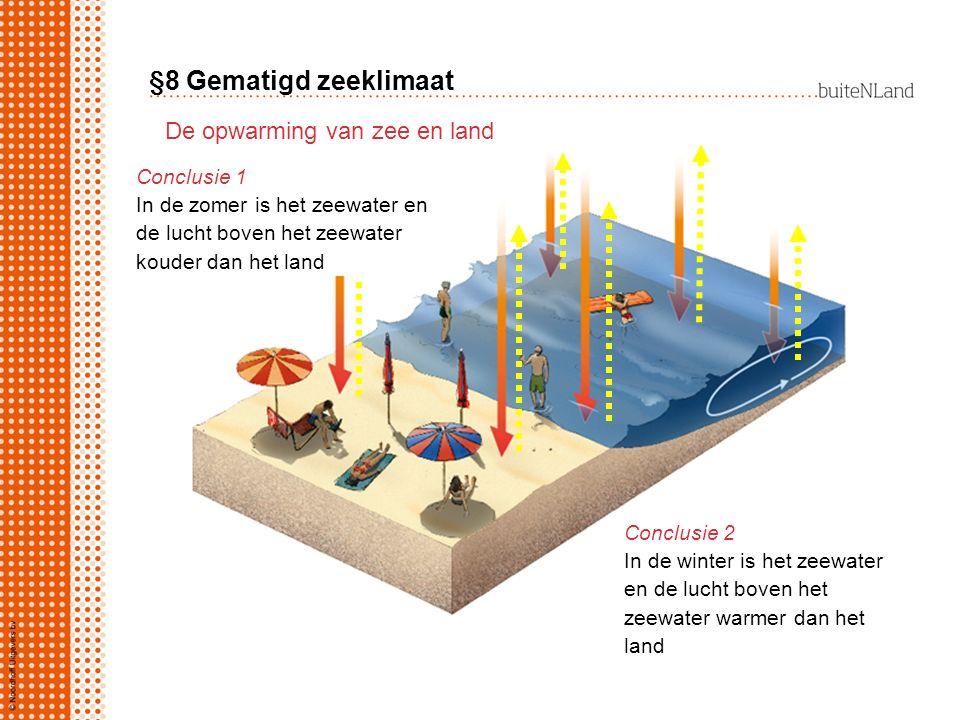 §8 Gematigd zeeklimaat De opwarming van zee en land Conclusie 1 In de zomer is het zeewater en de lucht boven het zeewater kouder dan het land Conclus