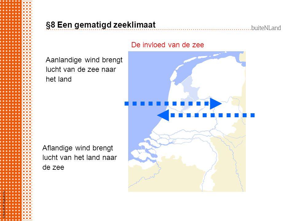 §8 Een gematigd zeeklimaat Aanlandige wind brengt lucht van de zee naar het land Aflandige wind brengt lucht van het land naar de zee De invloed van d