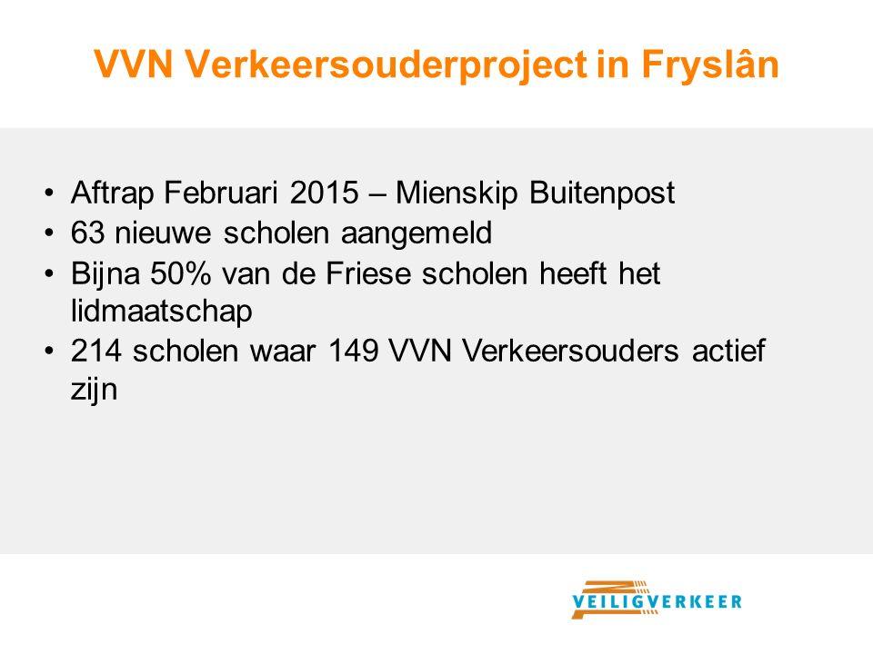 VVN Verkeersouderproject in Fryslân Aftrap Februari 2015 – Mienskip Buitenpost 63 nieuwe scholen aangemeld Bijna 50% van de Friese scholen heeft het lidmaatschap 214 scholen waar 149 VVN Verkeersouders actief zijn