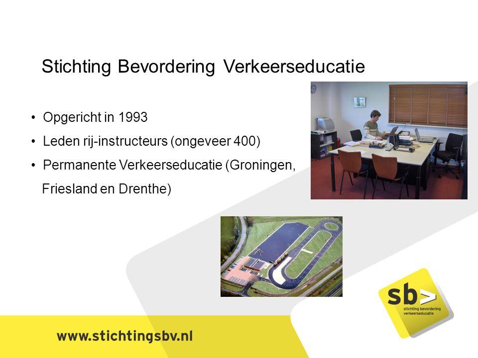 Stichting Bevordering Verkeerseducatie Opgericht in 1993 Leden rij-instructeurs (ongeveer 400) Permanente Verkeerseducatie (Groningen, Friesland en Drenthe)