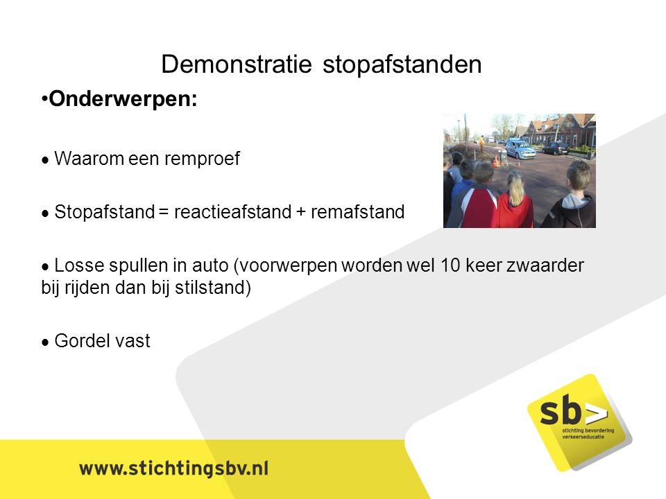 Demonstratie stopafstanden Onderwerpen:  Waarom een remproef  Stopafstand = reactieafstand + remafstand  Losse spullen in auto (voorwerpen worden wel 10 keer zwaarder bij rijden dan bij stilstand)  Gordel vast