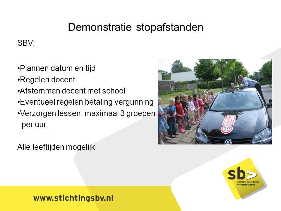 Demonstratie stopafstanden SBV: Plannen datum en tijd Regelen docent Afstemmen docent met school Eventueel regelen betaling vergunning Verzorgen lessen, maximaal 3 groepen per uur.