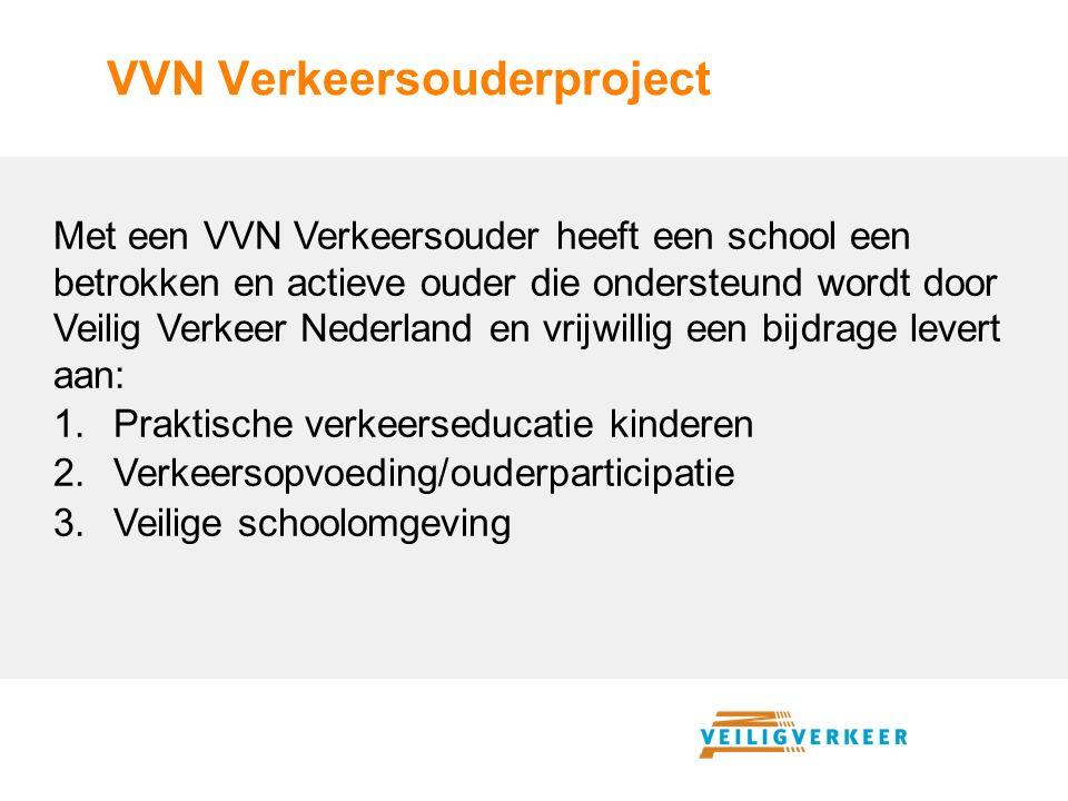 Met een VVN Verkeersouder heeft een school een betrokken en actieve ouder die ondersteund wordt door Veilig Verkeer Nederland en vrijwillig een bijdrage levert aan: 1.Praktische verkeerseducatie kinderen 2.Verkeersopvoeding/ouderparticipatie 3.Veilige schoolomgeving