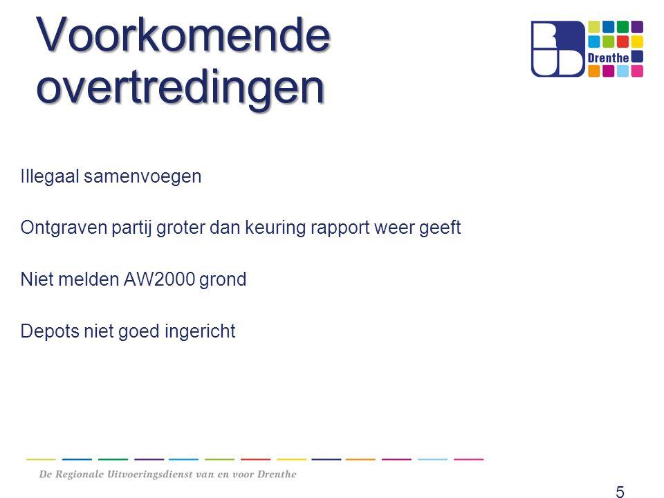 Voorkomende overtredingen Illegaal samenvoegen Ontgraven partij groter dan keuring rapport weer geeft Niet melden AW2000 grond Depots niet goed ingericht 5