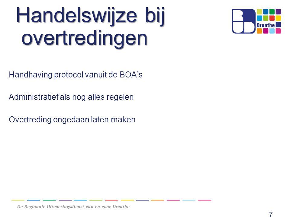 Handelswijze bij overtredingen Handhaving protocol vanuit de BOA's Administratief als nog alles regelen Overtreding ongedaan laten maken 7