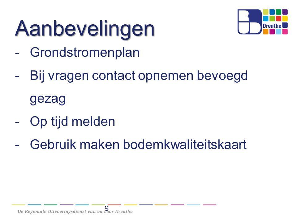 Aanbevelingen -Grondstromenplan -Bij vragen contact opnemen bevoegd gezag -Op tijd melden -Gebruik maken bodemkwaliteitskaart 9