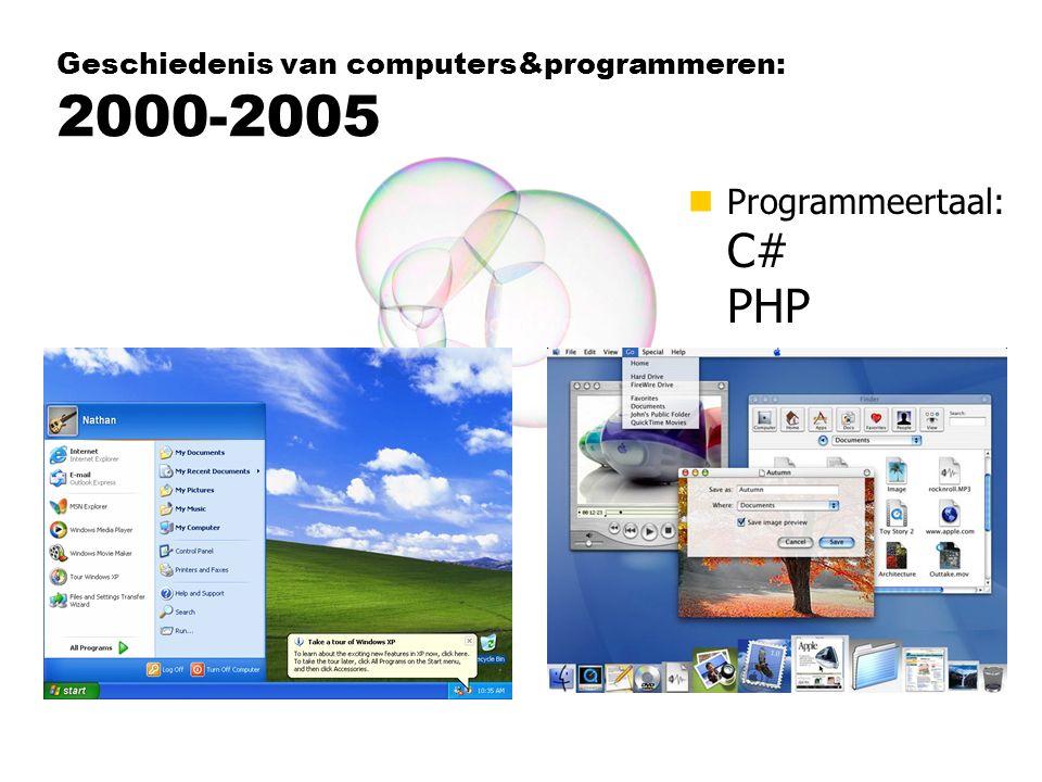 nProgrammeertaal: C# PHP Geschiedenis van computers&programmeren: 2000-2005