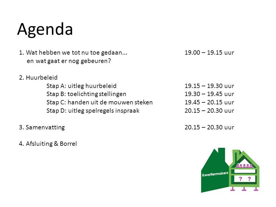 Agenda 1. Wat hebben we tot nu toe gedaan... 19.00 – 19.15 uur en wat gaat er nog gebeuren? 2. Huurbeleid Stap A: uitleg huurbeleid 19.15 – 19.30 uur