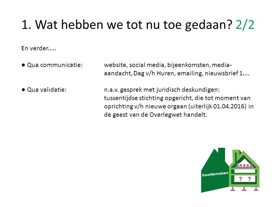 1. Wat hebben we tot nu toe gedaan? 2/2 En verder..... ● Qua communicatie: website, social media, bijeenkomsten, media- aandacht, Dag v/h Huren, email