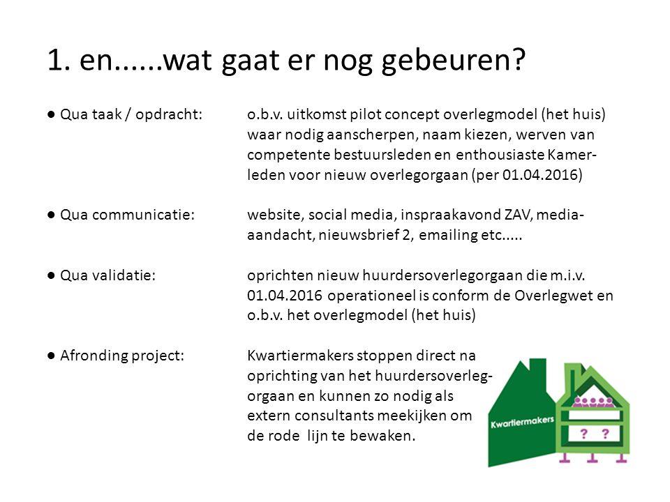 1. en......wat gaat er nog gebeuren? ● Qua taak / opdracht: o.b.v. uitkomst pilot concept overlegmodel (het huis) waar nodig aanscherpen, naam kiezen,