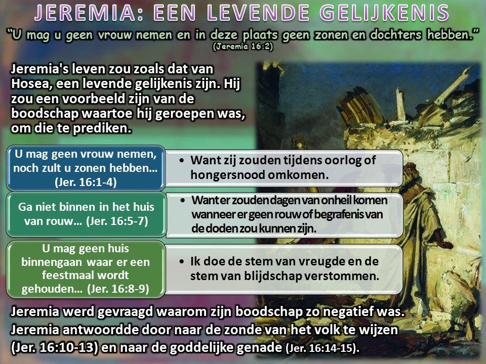 Maar het volk dat zijn nek zal voegen onder het juk van de koning van Babel, en hem zal dienen, dat zal Ik in zijn eigen land laten blijven, spreekt de HEERE, en het zal dat bewerken en daarin wonen. (Jeremia 27:11) In hoofdstuk 27, werd Jeremia opgedragen enkele houten jukken te maken.