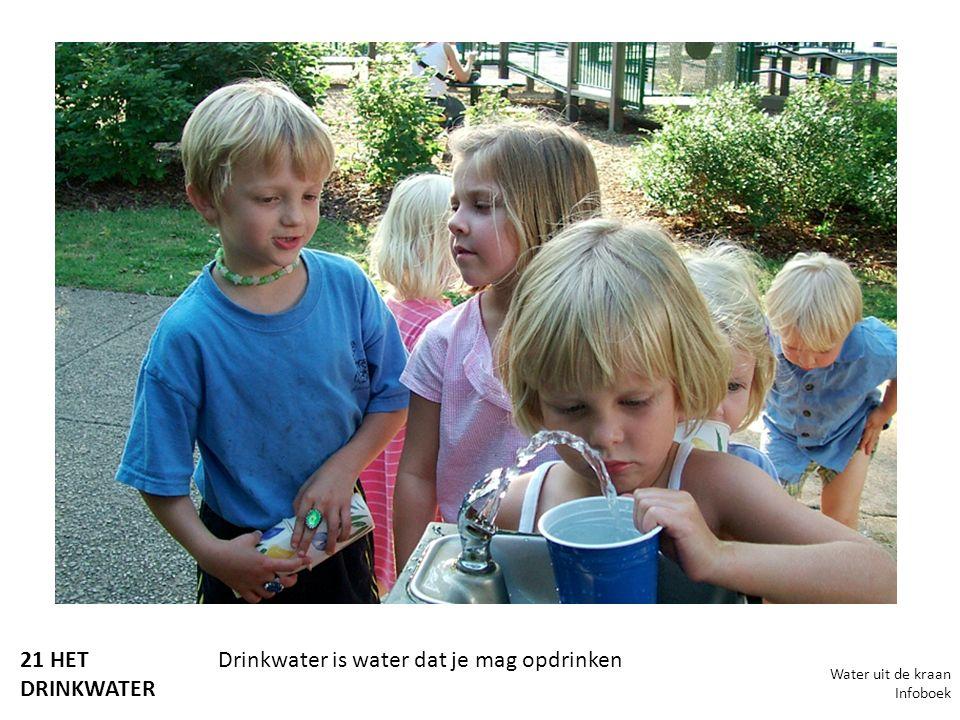 21 HET DRINKWATER Drinkwater is water dat je mag opdrinken Water uit de kraan Infoboek