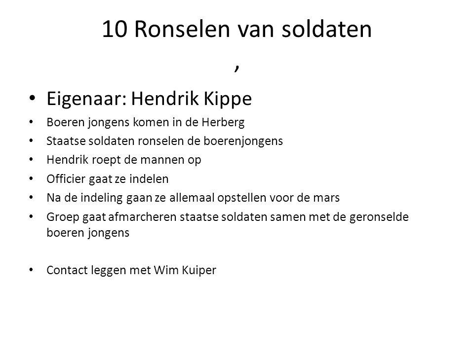 10 Ronselen van soldaten, Eigenaar: Hendrik Kippe Boeren jongens komen in de Herberg Staatse soldaten ronselen de boerenjongens Hendrik roept de manne