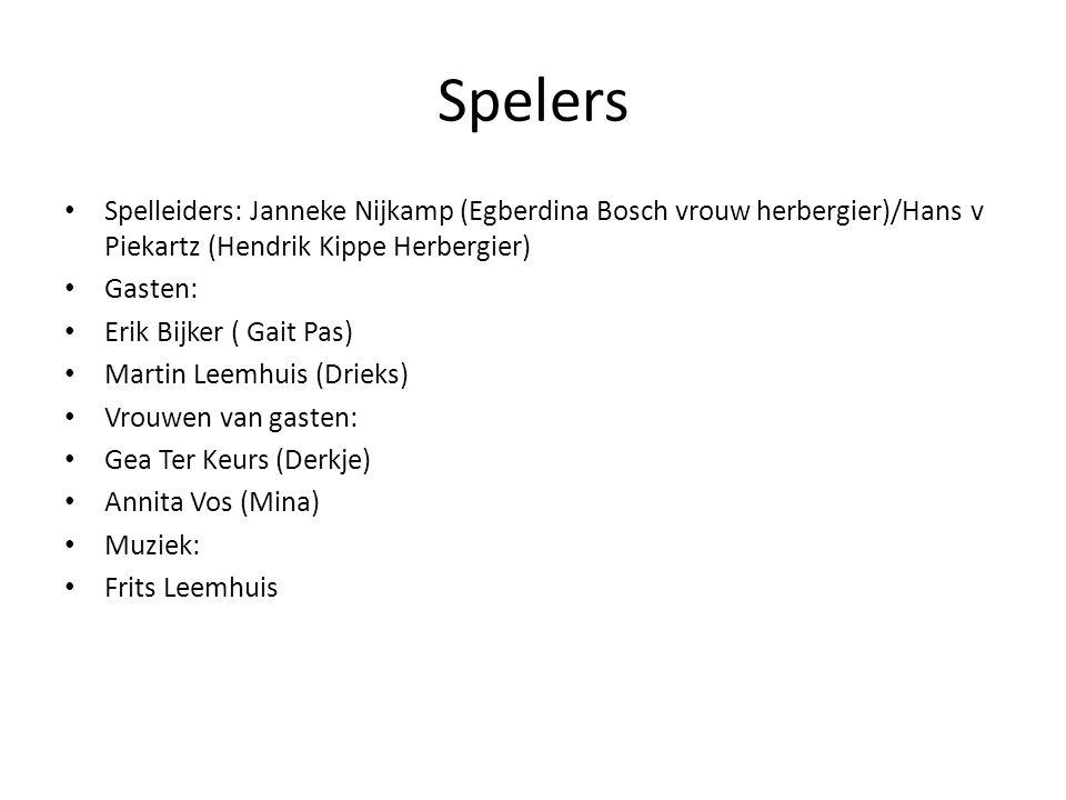Spelers Spelleiders: Janneke Nijkamp (Egberdina Bosch vrouw herbergier)/Hans v Piekartz (Hendrik Kippe Herbergier) Gasten: Erik Bijker ( Gait Pas) Mar