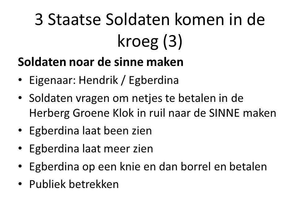 3 Staatse Soldaten komen in de kroeg (3) Soldaten noar de sinne maken Eigenaar: Hendrik / Egberdina Soldaten vragen om netjes te betalen in de Herberg