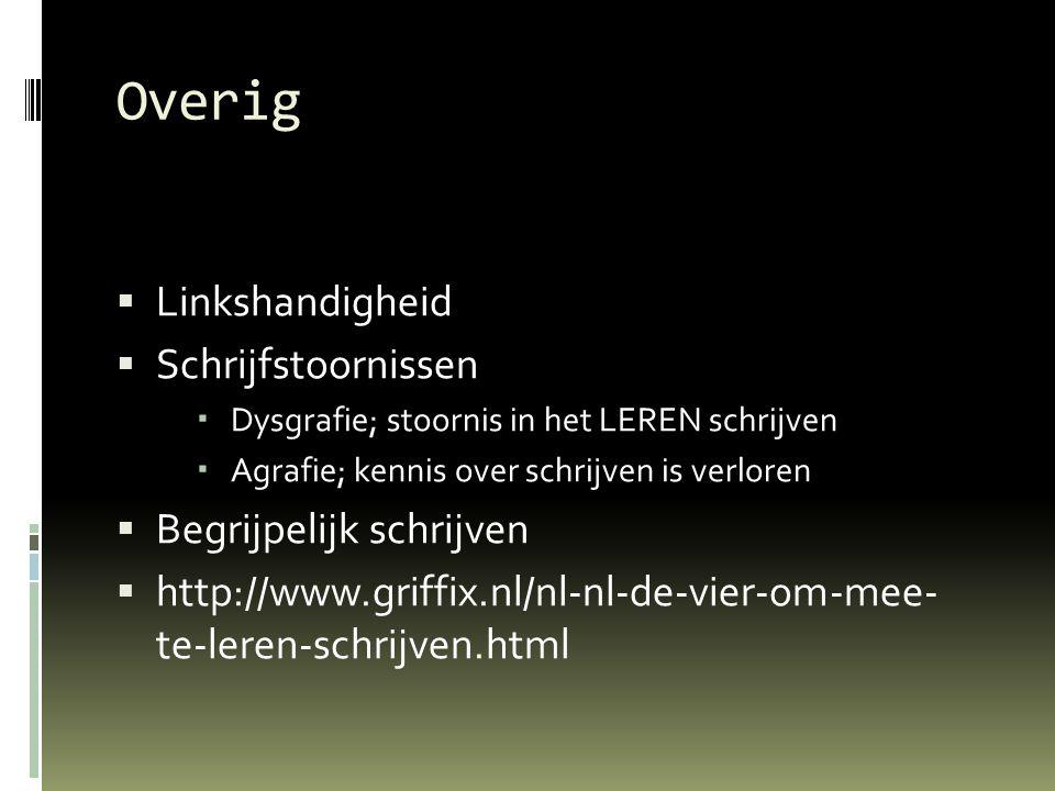 Overig  Linkshandigheid  Schrijfstoornissen  Dysgrafie; stoornis in het LEREN schrijven  Agrafie; kennis over schrijven is verloren  Begrijpelijk schrijven  http://www.griffix.nl/nl-nl-de-vier-om-mee- te-leren-schrijven.html