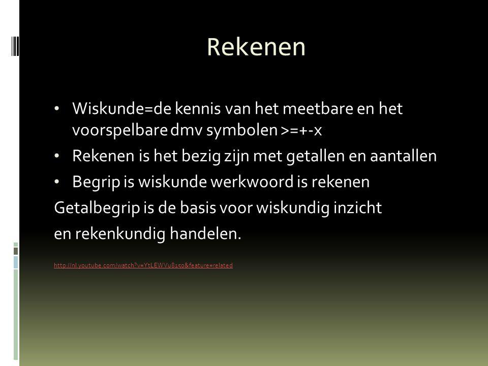 Rekenen Wiskunde=de kennis van het meetbare en het voorspelbare dmv symbolen >=+-x Rekenen is het bezig zijn met getallen en aantallen Begrip is wisku