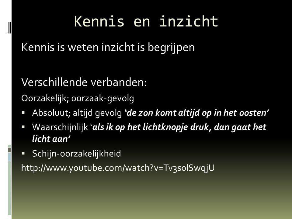 Kennis en inzicht Kennis is weten inzicht is begrijpen Verschillende verbanden: Oorzakelijk; oorzaak-gevolg  Absoluut; altijd gevolg 'de zon komt altijd op in het oosten'  Waarschijnlijk 'als ik op het lichtknopje druk, dan gaat het licht aan'  Schijn-oorzakelijkheid http://www.youtube.com/watch?v=Tv3s0lSwqjU