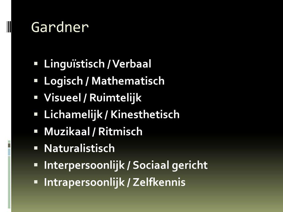 Gardner  Linguïstisch / Verbaal  Logisch / Mathematisch  Visueel / Ruimtelijk  Lichamelijk / Kinesthetisch  Muzikaal / Ritmisch  Naturalistisch  Interpersoonlijk / Sociaal gericht  Intrapersoonlijk / Zelfkennis