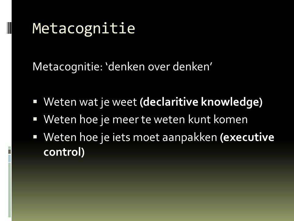 Metacognitie Metacognitie: 'denken over denken'  Weten wat je weet (declaritive knowledge)  Weten hoe je meer te weten kunt komen  Weten hoe je iets moet aanpakken (executive control)