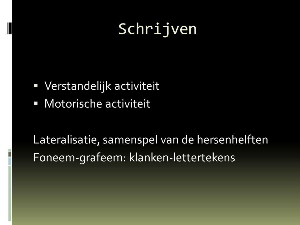 Schrijven  Verstandelijk activiteit  Motorische activiteit Lateralisatie, samenspel van de hersenhelften Foneem-grafeem: klanken-lettertekens