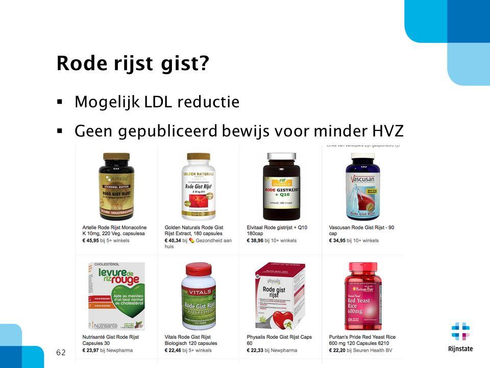 62 Rode rijst gist?  Mogelijk LDL reductie  Geen gepubliceerd bewijs voor minder HVZ