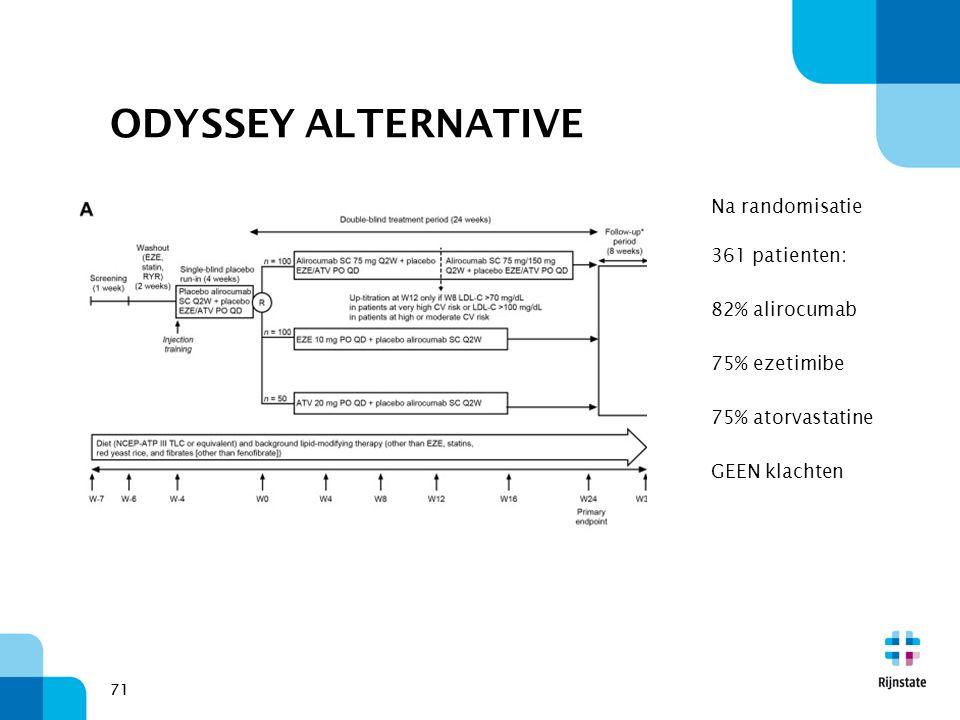 71 ODYSSEY ALTERNATIVE Na randomisatie 361 patienten: 82% alirocumab 75% ezetimibe 75% atorvastatine GEEN klachten 71