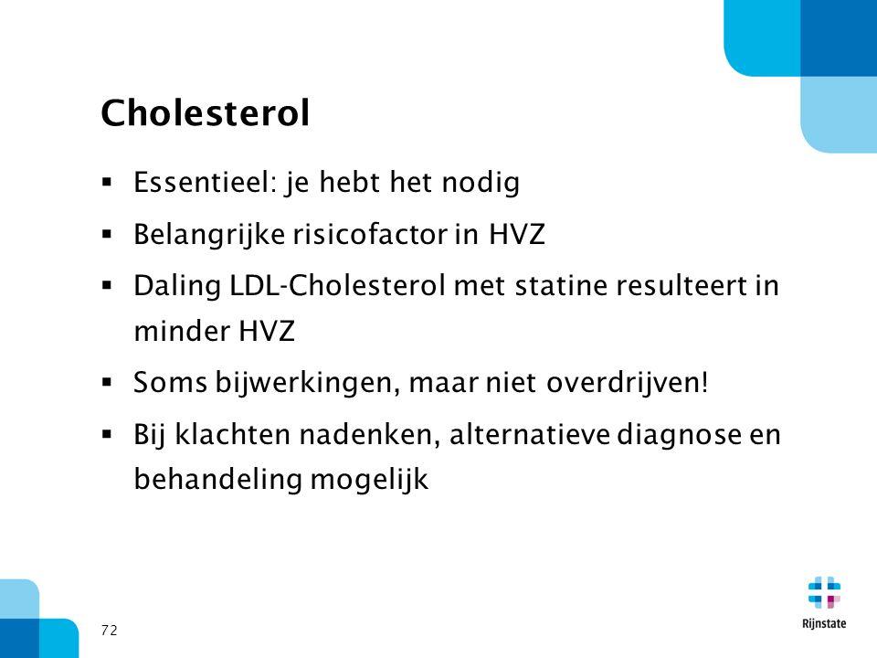 72 Cholesterol  Essentieel: je hebt het nodig  Belangrijke risicofactor in HVZ  Daling LDL-Cholesterol met statine resulteert in minder HVZ  Soms