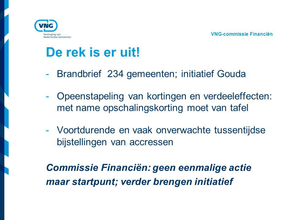 Vereniging van Nederlandse Gemeenten De rek is er uit! -Brandbrief 234 gemeenten; initiatief Gouda -Opeenstapeling van kortingen en verdeeleffecten: m
