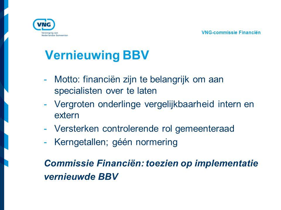 Vereniging van Nederlandse Gemeenten Vernieuwing BBV -Motto: financiën zijn te belangrijk om aan specialisten over te laten -Vergroten onderlinge vergelijkbaarheid intern en extern -Versterken controlerende rol gemeenteraad -Kerngetallen; géén normering Commissie Financiën: toezien op implementatie vernieuwde BBV VNG-commissie Financiën