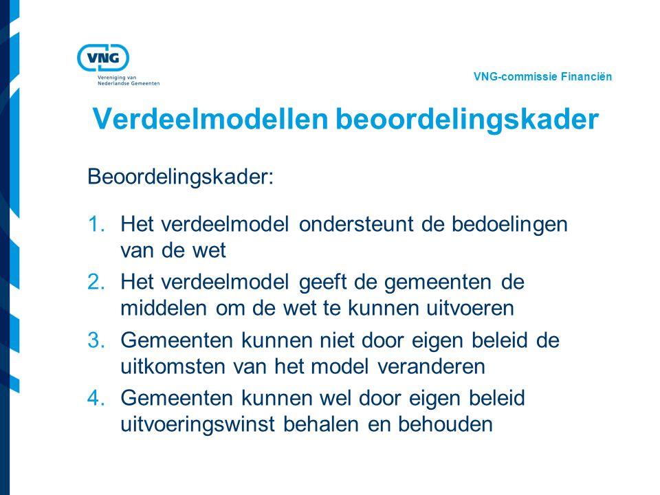 Vereniging van Nederlandse Gemeenten Verdeelmodellen beoordelingskader Beoordelingskader: 1.Het verdeelmodel ondersteunt de bedoelingen van de wet 2.Het verdeelmodel geeft de gemeenten de middelen om de wet te kunnen uitvoeren 3.Gemeenten kunnen niet door eigen beleid de uitkomsten van het model veranderen 4.Gemeenten kunnen wel door eigen beleid uitvoeringswinst behalen en behouden VNG-commissie Financiën