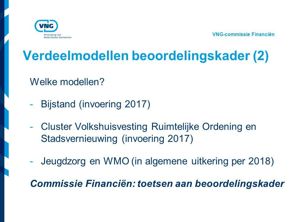 Vereniging van Nederlandse Gemeenten Verdeelmodellen beoordelingskader (2) Welke modellen? -Bijstand (invoering 2017) -Cluster Volkshuisvesting Ruimte
