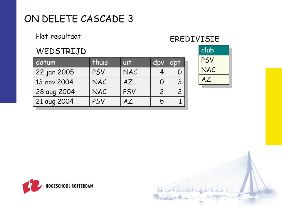 ON DELETE CASCADE 3 Het resultaat club PSV NAC AZ EREDIVISIE datumthuisuitdpvdpt 22 jan 2005PSVNAC40 13 nov 2004NACAZ03 28 aug 2004NACPSV22 21 aug 2004PSVAZ51 WEDSTRIJD