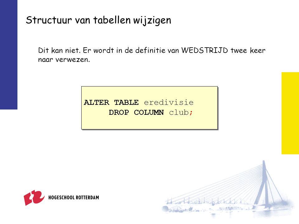 Structuur van tabellen wijzigen Dit kan niet.