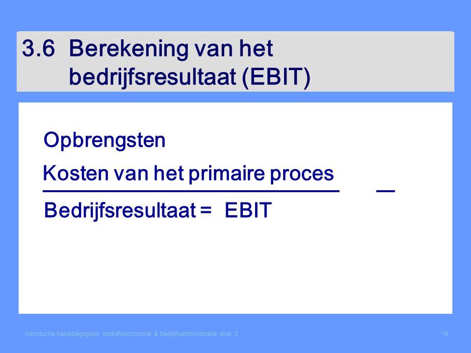 Introductie basisbegrippen bedrijfseconomie & bedrijfsadministratie druk 319 3.6Berekening van het bedrijfsresultaat (EBIT) Opbrengsten Kosten van het