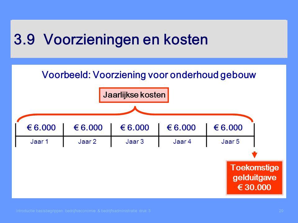 Introductie basisbegrippen bedrijfseconomie & bedrijfsadministratie druk 329 3.9Voorzieningen en kosten Voorbeeld: Voorziening voor onderhoud gebouw J