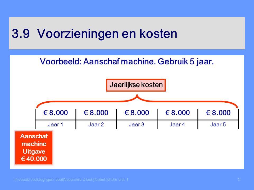 Introductie basisbegrippen bedrijfseconomie & bedrijfsadministratie druk 331 3.9Voorzieningen en kosten Voorbeeld: Aanschaf machine. Gebruik 5 jaar. J