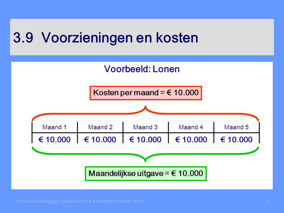 Introductie basisbegrippen bedrijfseconomie & bedrijfsadministratie druk 333 3.9Voorzieningen en kosten Voorbeeld: Lonen Maand 1Maand 2Maand 3Maand 4M