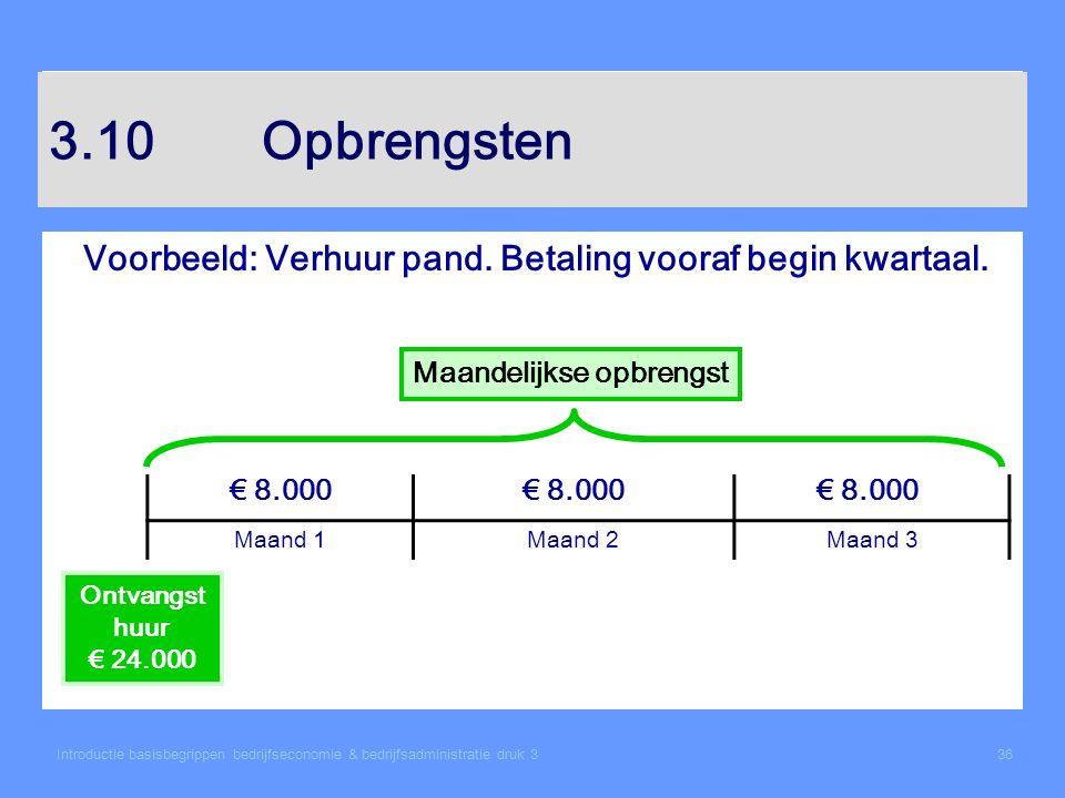 Introductie basisbegrippen bedrijfseconomie & bedrijfsadministratie druk 336 3.10Opbrengsten Voorbeeld: Verhuur pand. Betaling vooraf begin kwartaal.